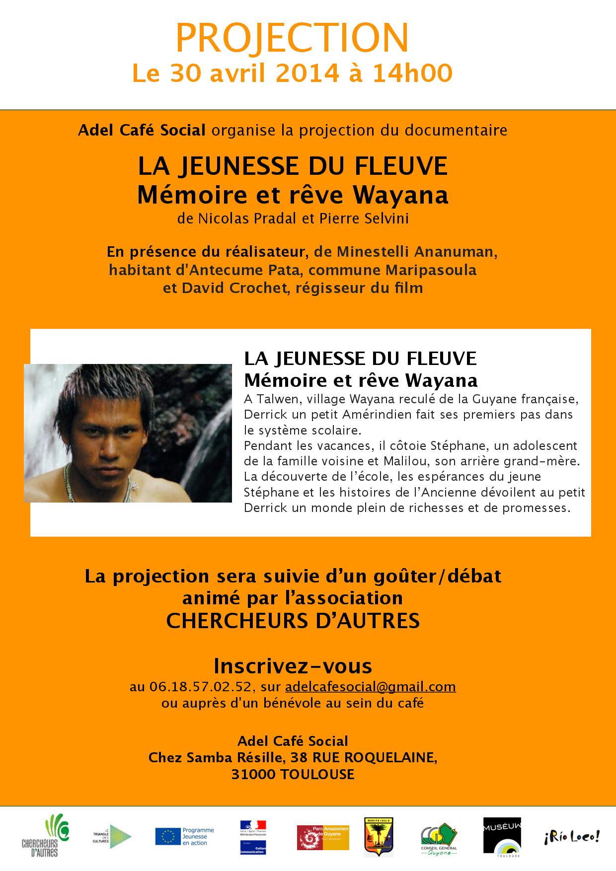 """Projection """"La jeunesse du Fleuve"""" à Adel Café Social 30 avril 14h"""